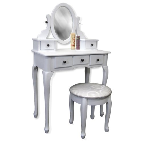 White Vanity Table Set Jewelry Armoire Makeup