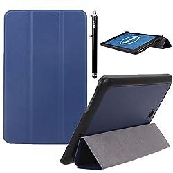 Dell Venue 8 Case, E LV Dell Venue 8 (ANDROID TABLET) Case Cover Full Body Protection TRIFOLD PU LEATHER Smart Case Cover for DELL VENUE 8 - BLUE