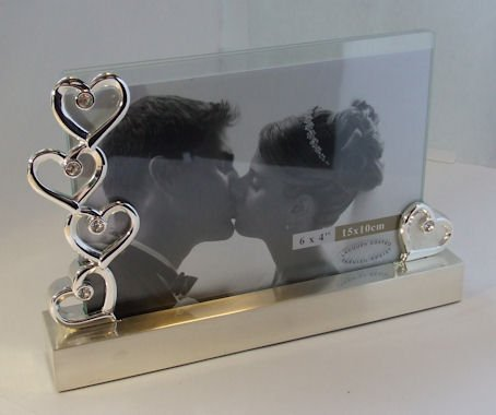 Glass & Silver Hearts Photo Frame 6 x 4