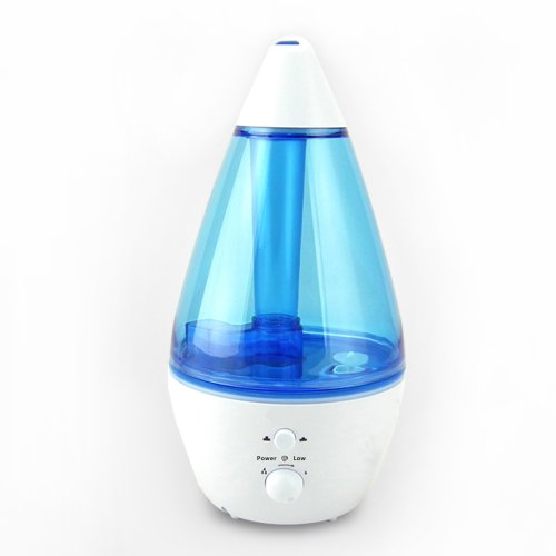 HITO Ultrasonic Cool Mist Humidifier QuietCare w/ 2.3 Gallon Output per day for Home Office Bedroom (Blue, 1.2L+ built-in Aromatherapy Bottle)