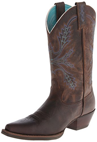 Justin Boots Women's Stampede Sliver Collection Riding Boot, Antique Brown Buffalo, 9 B US