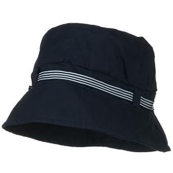 Small Brim Stripe Ribbon Bucket Hat - Navy