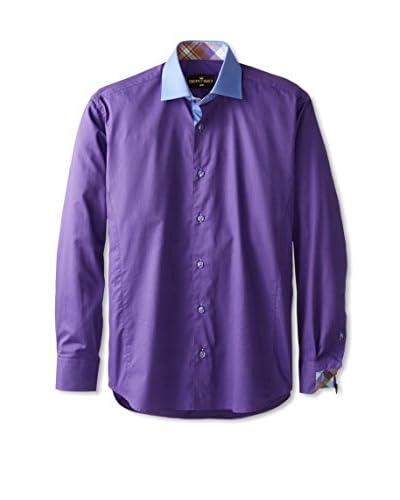 Bertigo Men's Solid Sportshirt with Contrast Collar
