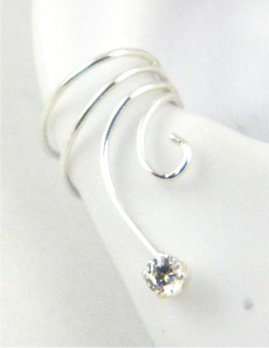 Sterling Silver Curly Q with 3mm Cubic Zircon Ear Cuff Earring Right