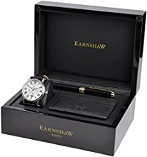 Thomas Earnshaw Pen and Card Holder Set (ES-8031-01 ES-101-C1-01 ES-PEN-8005) Men's Quartz Watch with Black Dial Analogue Display and Black Leather Strap ES-SET7-02