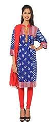 Rama Suit Set of Printed Indigo Color Neck Placket Designe Chinese Collar 3/4 Sleeve Cotton Fabric Women Kurti with Red Legging Duppatta