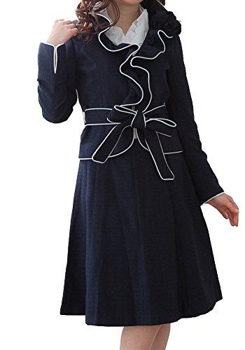 コサージュ付ゴージャスフリルリボンスカートスーツ (9AR64, ネイビー)