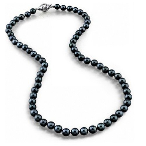 Bling Jewelry 8mm South Sea Shell Black Pearl Necklace