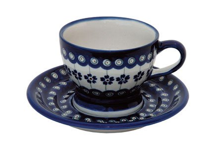 Polish Pottery Flowering Peacock Pedestal Cup & Saucer
