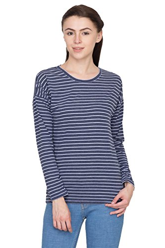 Hypernation-Blue-and-Light-Blue-Stripped-T-Shirts-for-Women