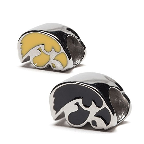 Iowa Hawkeyes Bead Charms - Set of 2 - 1 YELLOW + 1 BLACK - Fits Pandora & Others