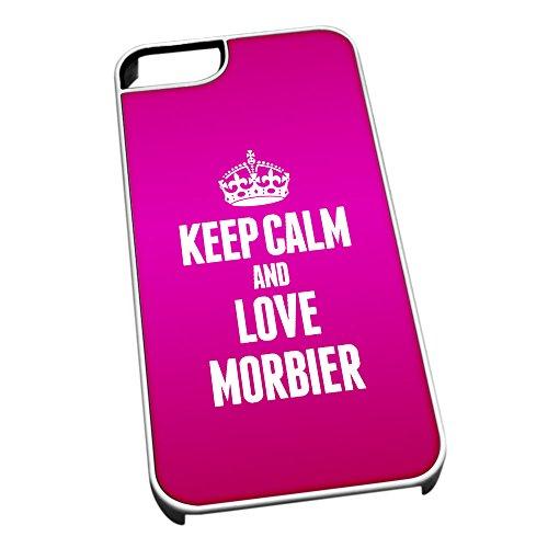 Weiß Schutzhülle für iPhone 5/5S 1291Pink Keep Calm und Love morbier (Jura)