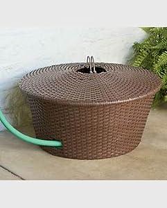 Decorative Resin Wicker Garden Hose Basket On Steel Frame With Lid 100 Ft Hose