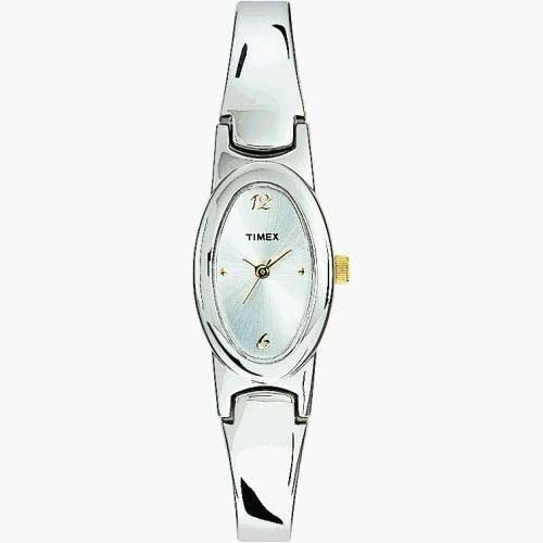 TIMEX Women's Silver tone Analog Half-Bangle Watch with Gold-tone Accents. Model: T23182