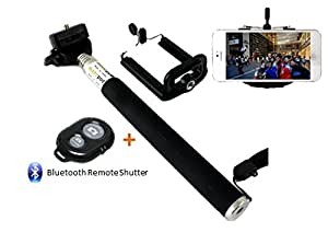 Extendable Self Portrait Selfie Handheld Stick Monopod + Wireless Bluetooth Remote Control For Micromax Canvas Doodle A111