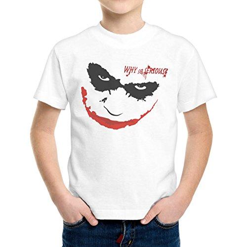 T-Shirt Bambino Ragazzo Faccia Joker Smile Why So Serious -