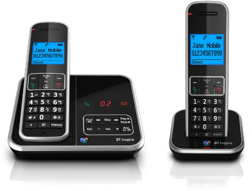 BT Inspire 1500 Twin Digital Cordless Phone with Answer Machine - Black