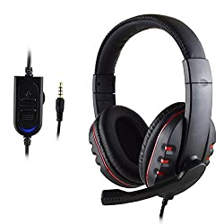 SYSTECH P4-726C Headband Gaming Headset 3.5mm Port Stereo Headphone Earphone for PS4 IPHONE IPAD SAMSUNG HUAWEI PC Game-RED BLACK