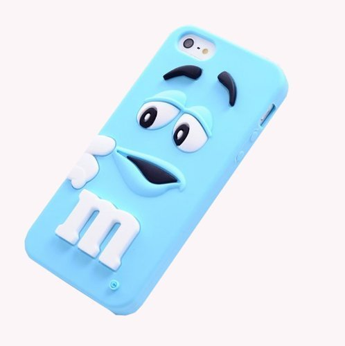 Coco 3D Cute Cartoon Milk Chocolate Bean M&M Figure Bean with Fragrance Owl-eyed Silicone Back Case Cover for iPhone 4 4S- Blue