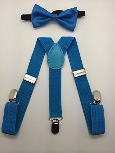 NEW Kid Suspender Bow Tie Matching Colors Tuxedo Classic Pure Plain Neckwear Adjustable Unisex Combo Set- Baby Blue