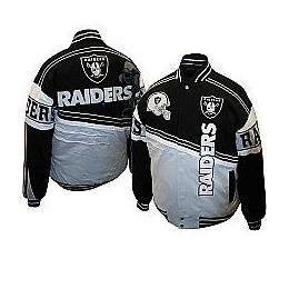 NFL Mens Oakland Raiders 1st and 10 Cotton Twill Jacket (Black silver, Xxx-large) 3xl by JH