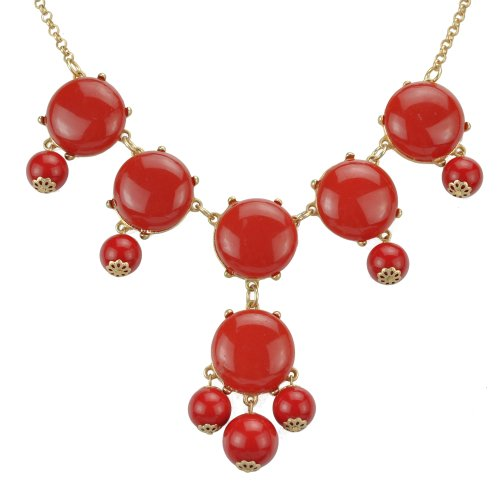 Red Necklace, Bubble Bib Necklace, Bubble Necklace, Bubble Jewelry (Fn0540) (A)