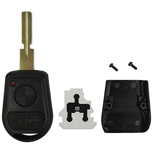 QualityKeylessPlus Replacement Remote Head Key 3 Button Case and Pad for BMW FCC ID LX8FZU (Remote Bmw compare prices)