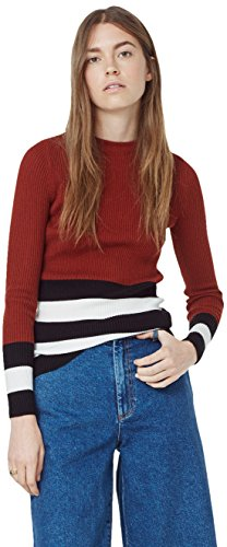 Mango Women's Striped Rib Sweater, Cognac, Xs