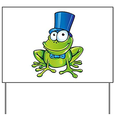 Yard Sign Frog with Top Hat