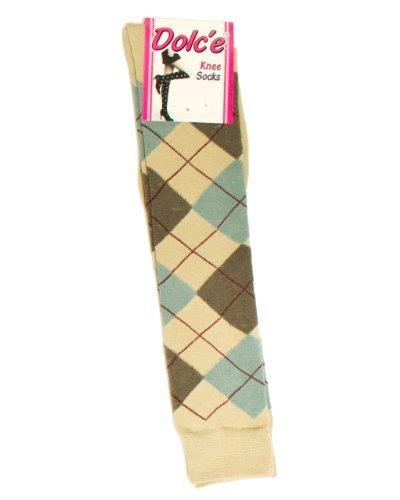 Fine Brand Shop Girls Tan Knee High Socks Diamond Pattern