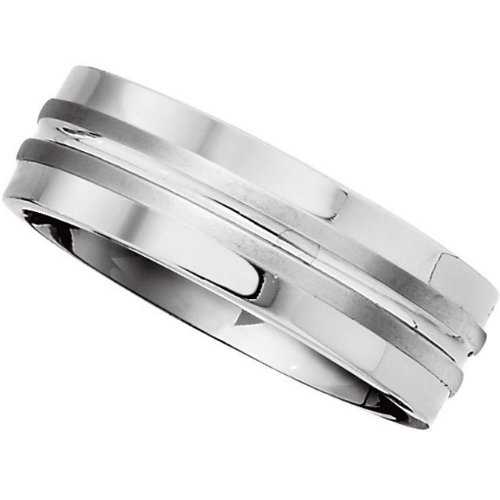 7.2mm Titanium Double Grooved Satin Band Size 13