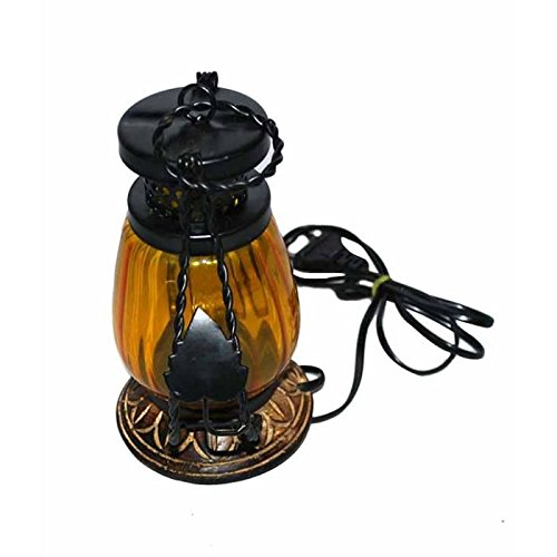 khan handicrafts yellow Wooden & Iron hand carved Colored Electric chimney Lantern design  available at amazon for Rs.348