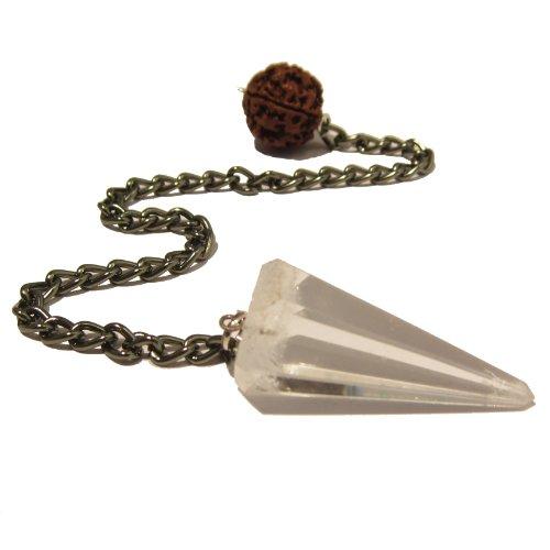 Quartz Pendulum 09 Rudraksha Seed Gunmetal Reiki Energy Crystal Healing