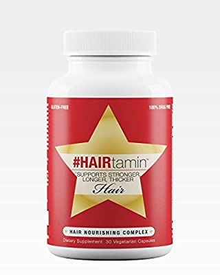 #HAIRtamin Fast Hair Growth Biotin Vitamins. Gluten Free, 30 Vegetarian Capsules. Supports Stronger, Longer, Thicker Hair. Reduces Hair Loss & Thinning. All Natural Supplement.