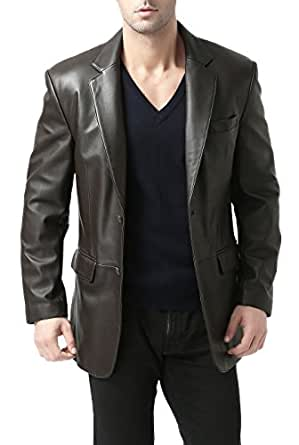 "BGSD Men's ""Richard"" Classic Two-Button Lambskin Leather Blazer - Dark Brown M"