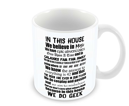 Geek Details in This House We Do Geek Coffee Mug, 11 Oz, White