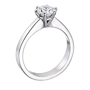 IGI Certified 14k white-gold Round Cut Diamond Engagement Ring (0.70 cttw, I Color, SI1 Clarity)