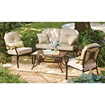 Hot Sale PATIO FURNITURE RUST RESISTANT ALUMINUM OUTDOOR LAWN & GARDEN BELLERIVE BETTER HOMES & GARDENS 4 PC WITH EXTRA THICK CUSHIONS