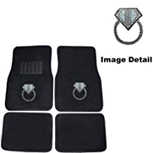buy Diamond Ring Door Knocker Gem Crystal Studded Rhinestone Car Truck Suv Universal-Fit Front & Rear Seat Carpet Floor Mats - 4Pc