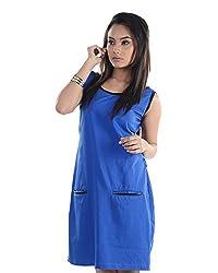 VeaKupia Women's Asymmetric Regular Fit Dress (Blue, 36)