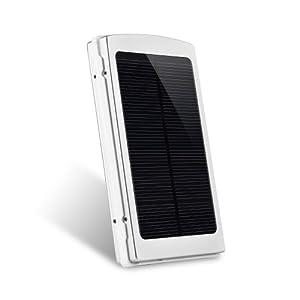 Patuoxun® Aluminium Doppel 10000mAh USB Umwelt Solar Power Panel Dual USB Externe Handy Akku Ladegerät Power Bank Portable für iPad 5 4 3 Air Mini iPhone 6 6 PLUS 5S 5C 5 4S, Samsung Galaxy S5 S4 S3 Note 2 3, HTC One M7 M8, Sony Ericsson Xperia L39h, L36h Z1 Z2 Silber