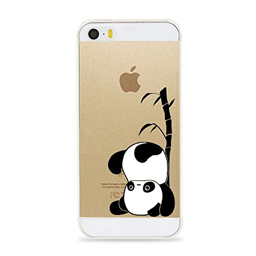 iPhone 5 5S SE Case,[Color Printed] Cute Novelty Series Panda & Mermaid Pattern Soft TPU Silicone Protective Skin Ultra Slim & Clear with Unique Painted Design Gift Bumper Cover,Panda headstand (Marvel Silicone Iphone 5s Case compare prices)