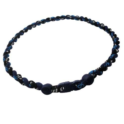 Phiten Custom Titanium Black and Navy Tornado Necklace with Navy Trim and Navy Clasp 22