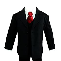 Gino Wedding Formal Red Dot Tie Boy Black Suit Sizes Baby to Teen (3T)