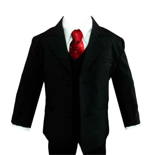 Gino Wedding Formal Red Dot Tie Boy Black Suit Sizes Baby To Teen (8) front-768945