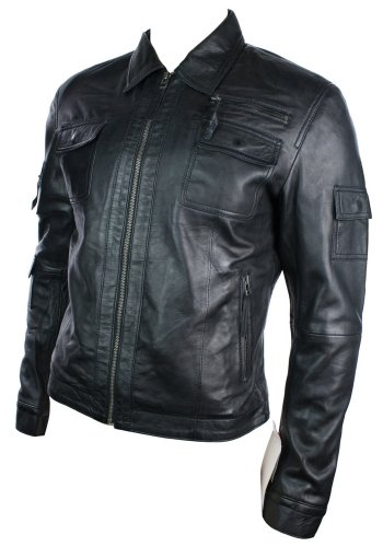 Mens Urban Vintage Short Saints Style Retro Leather Jacket Black Fitted Casual