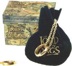 """Il Signore Degli Anelli - L'Unico Anello """"The One Ring"""" - Scritta Oro Su Oro Piccolo 18 Mm."""