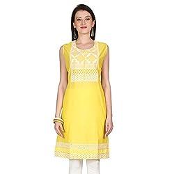 Janasya women's yellow embridered kurtis