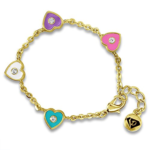 Heart Charm Bracelet Young Girls and Little Girls, 14K Gold Plated Chain Kids Jewelry ...