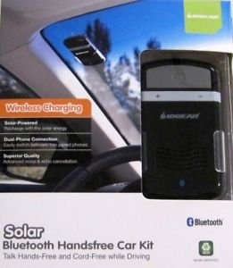 Solar Powered Bluetooth Hands-Free Cellphone Car Kit [Retail Package] - Wireless Charging And Dual Phone Connetion